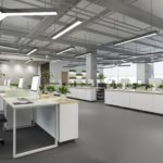 3d rendering business meeting and working room on office building with plant decor