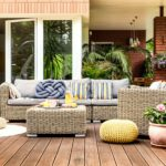 Beige garden furniture on terrace
